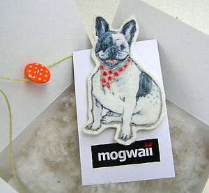 Fabric French Bulldog Brooch
