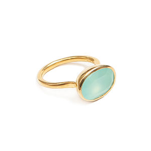 Aqua Chalcedony Cocktail Ring