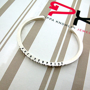 Thin Silver Barcode Cuff Bracelet