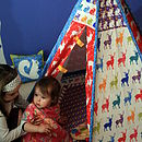Girls and teepee