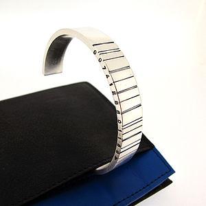 Wide Silver Barcode Cuff Bracelet - bracelets