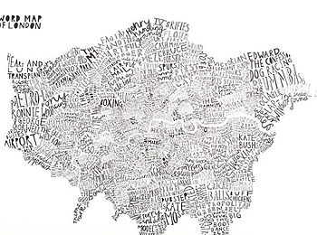 Typographic Word Map Print