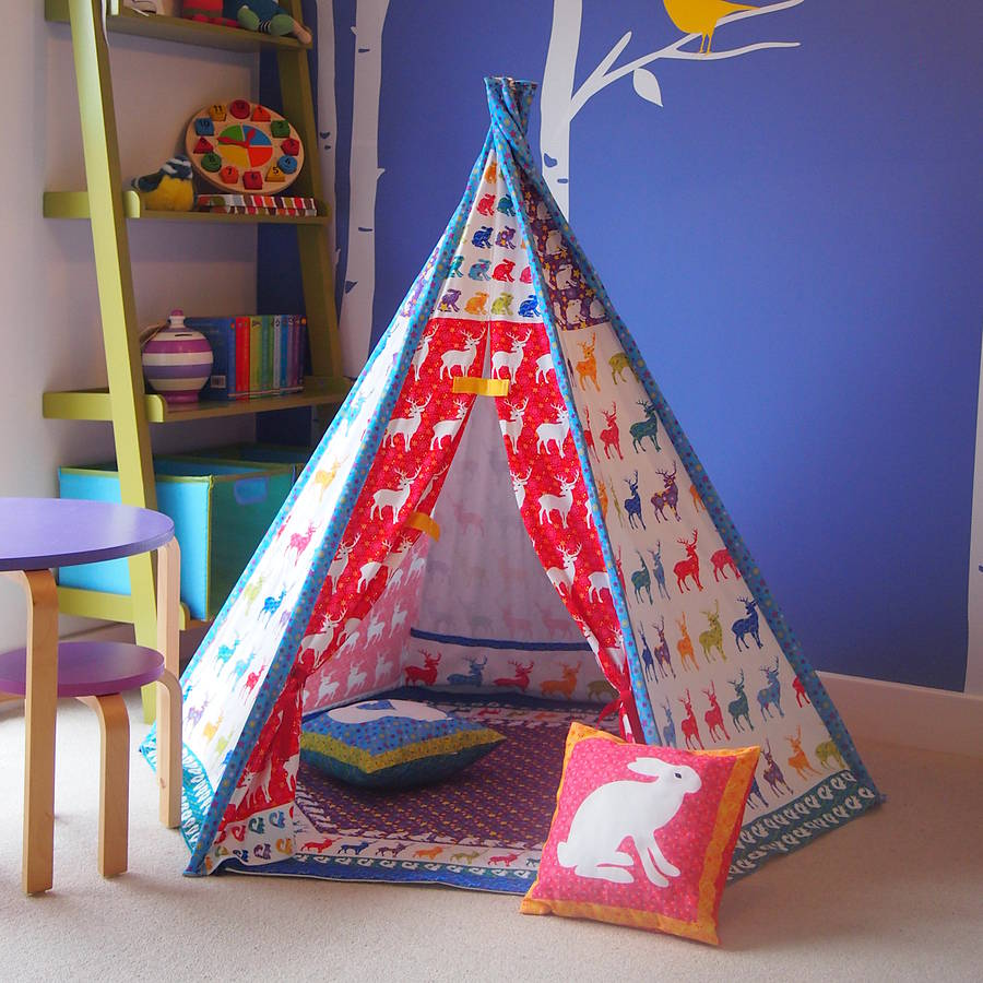 Child Teepee Mat And Cushion Woodland Design By Catching