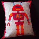 Red robot kids bedroom cushion