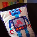 Navy blue robot kids bedroom cushion