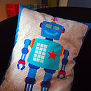 Pale blue robot kids bedroom cushion