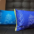 Teal and navy cushions