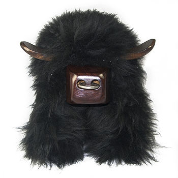 Aberdeen Angus Black Sheepskin Footstool