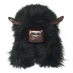Aberdeen Angus Black Sheepskin Footstool - furniture