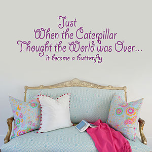 Just When The Caterpillar Wall Sticker - home accessories