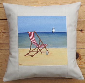 Hand Painted Seaside Deck Chair Cushion