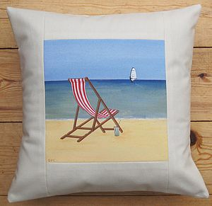 Hand Painted Seaside Deck Chair Cushion - inspired by the seaside