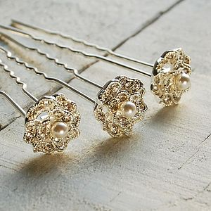 Set Of Three Lace Rose Hair Pins - hair accessories