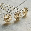 Set Of Three Lace Rose Hair Pins