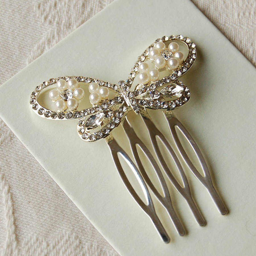 Set Of Two Butterfly Hair Combs By Highland Angel