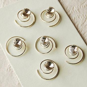 Set Of Six Diamante Stud Hair Pins