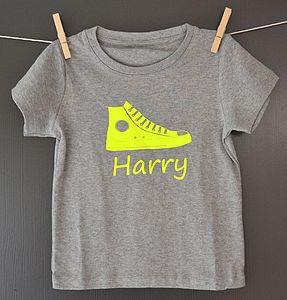 Boy's Personalised Neon Shoe T Shirt