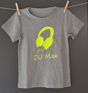 Boy's Personalised Neon 'DJ' T Shirt