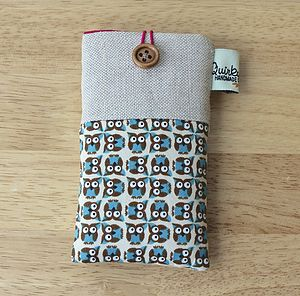 Linen Owl Print Phone Case - handbag essentials