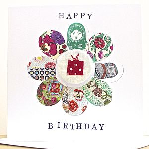 Hand Appliqued Birthday Badge Card