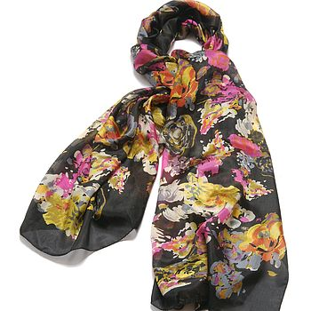 Large 'Wild Flower' Pure Silk Scarf