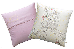 Dotty Bird Square Cushion - embroidered & beaded cushions
