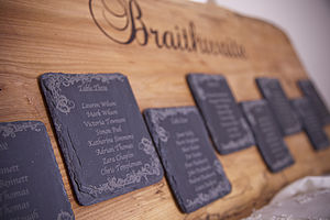 Personalised Solid Oak & Slate Table Plan - room decorations