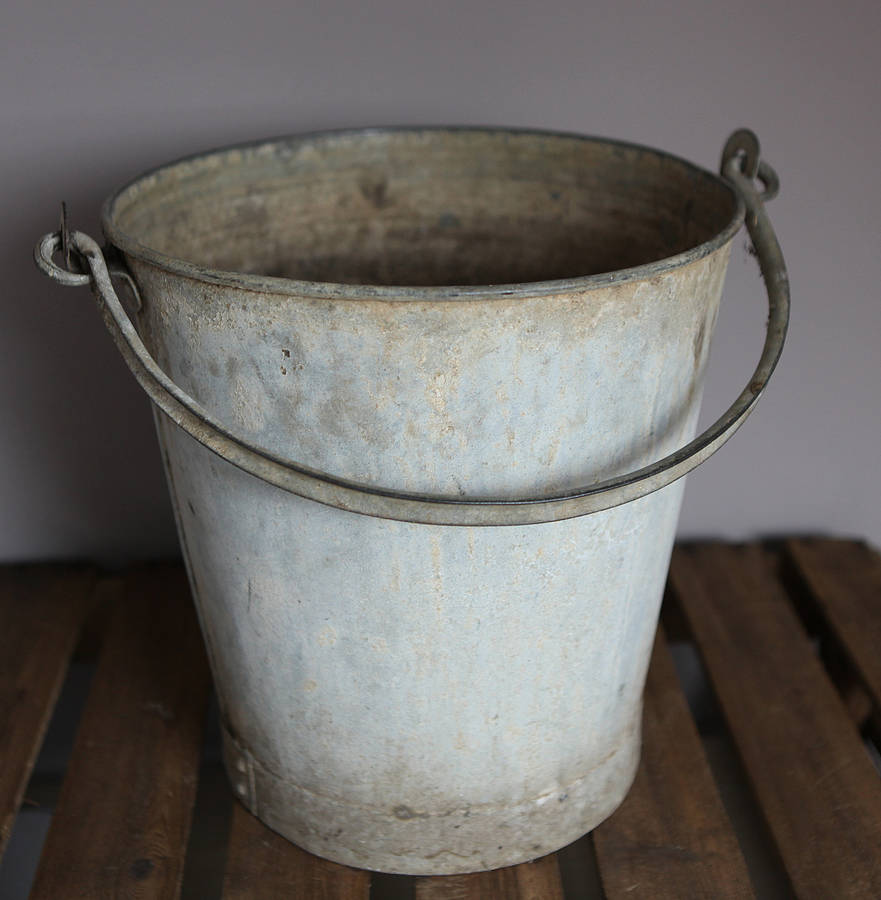 Vintage metal bucket by homestead store for Old metal buckets