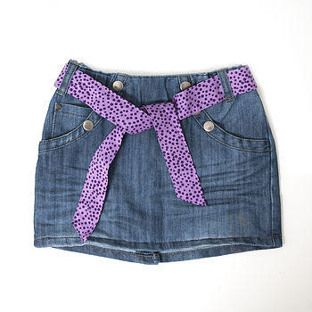 Girl's Denim Skirt With Belt