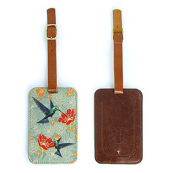 Hummingbirds Leather Luggage Tag