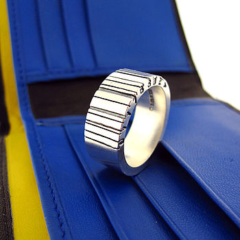 Wide Silver Barcode Ring