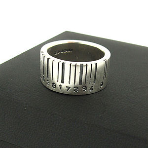 Extra Wide Silver Barcode Ring - personalised jewellery
