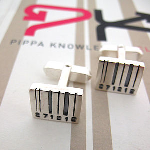 Front Facing Barcode Cufflinks - cufflinks