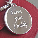 Silver Plated 'Love You Daddy' Round Keyring