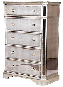 Venetian Mirrored Tallboy With Silver Trim - furniture