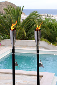 Pair Of Olympia Flame Garden Torches - lights & lanterns