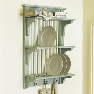 Rustic Wall Plate Rack With Hooks - shelves