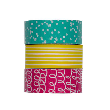 Set Of Three Patterned Sticky Tape