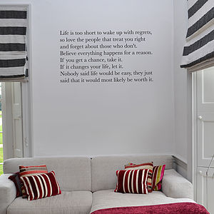 'Life Is Short' Wall Sticker - dining room