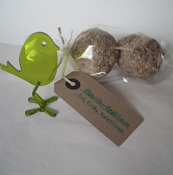 Pack of 2 fat balls with Kiwi green Eric bird