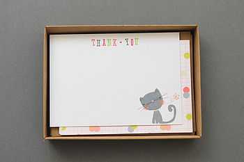 Set Of 10 Child's 'Thank You' Boxed Notelets