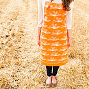 Orange Etched Floral Apron