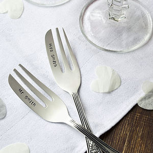 Personalised Silver Plated Cake Fork Set