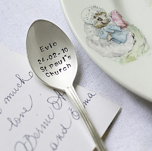 Personalised Silver Plated Christening Spoon - dining room