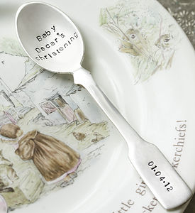 Personalised Silver Plated Fiddle Spoon - christening gifts