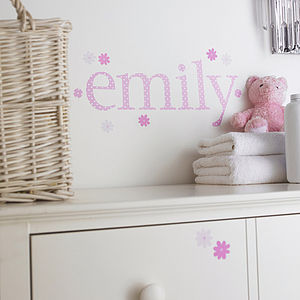 Personalised Pink Polka Wall Letter Stickers - children's room accessories