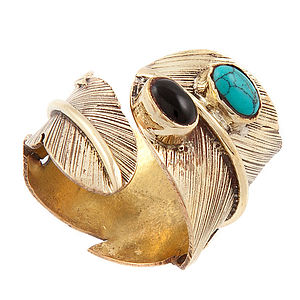 Handmade Turquoise Feather Ring - rings