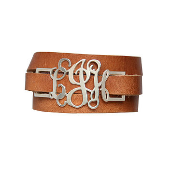 Personalised Leather Wrap Monogram Bracelet