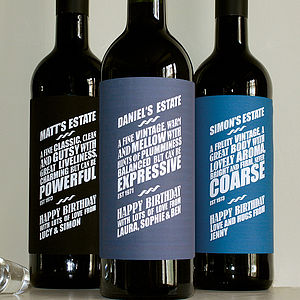Personalised Wine Labels - wines, beers & spirits