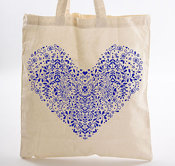 Folk Heart Tote Bag
